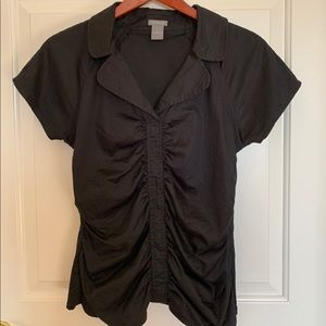 Ann Taylor black short sleeve ruched blouse